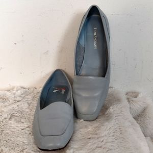 Enzo Angiolini Blue Gray Leather Flats Loafers 8